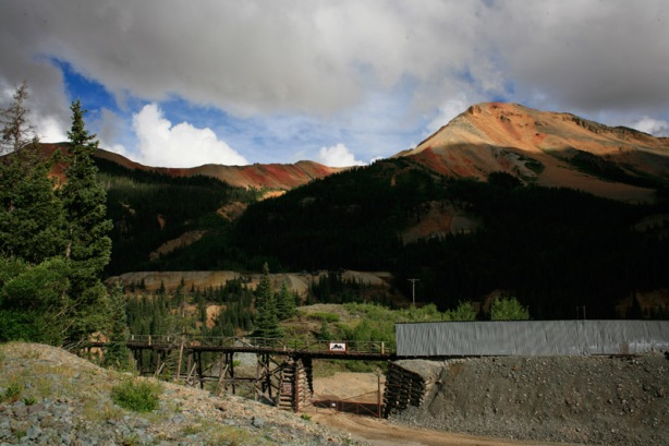 Red Mountain peak in distance behind the silver mine