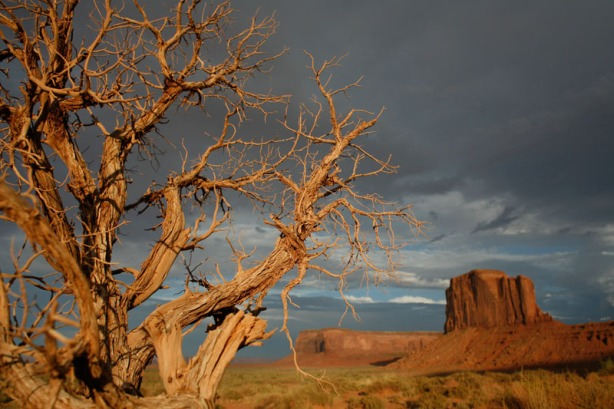 Storms brewing in the background at Monument Valley, UT