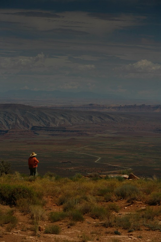 Sharon looking out from the top of Mokee Dugway towards the town of Mexican Hat...wearing her sombrero