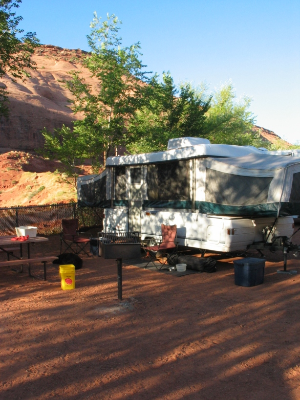 Sunrise at our site at Gouldings Campground in Monument Valley, UT