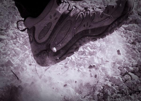 Dusty book kicking up rocks at big bend national park