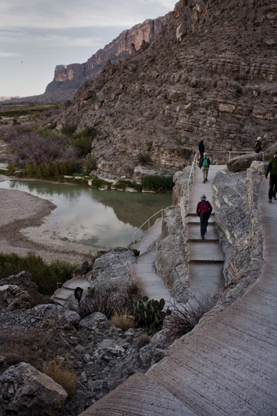 stairs winding up santa elena canyon Big Bend NP