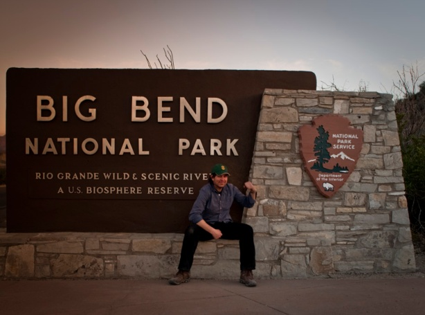Andrew at West Entrance Sign-Big Bend National Park