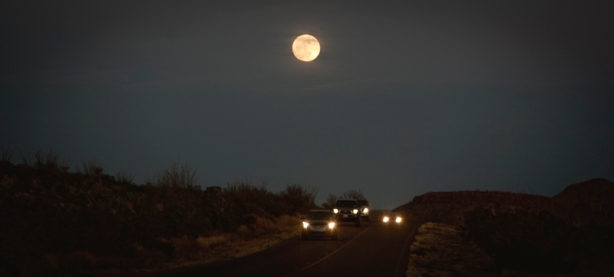 Cars Traveling By The Light Of The Moon-Big Bend National Park