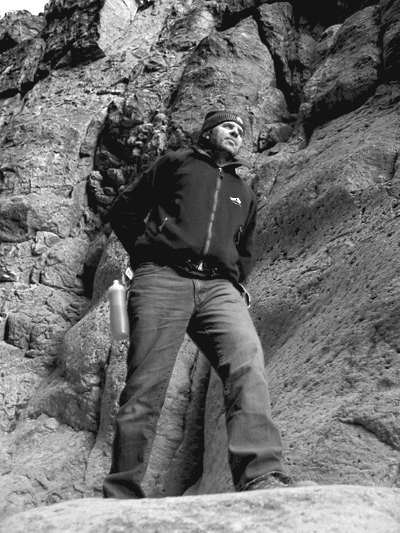 Andrew climbing in canyon